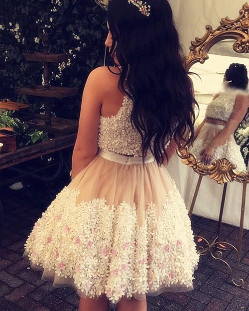 lace 2-piece homecoming dresses
