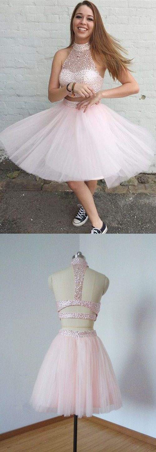 pink 2 piece homecoming dresses