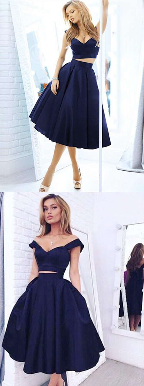 navy blue 2 piece homecoming dresses