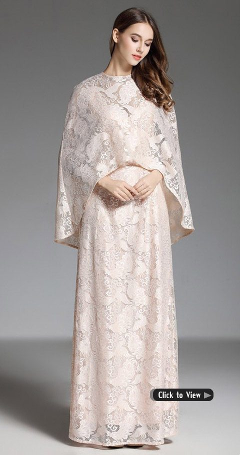 long formal dress with cape