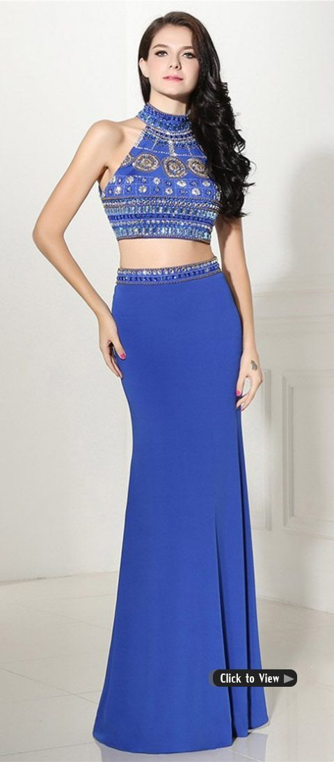 two piece long dress