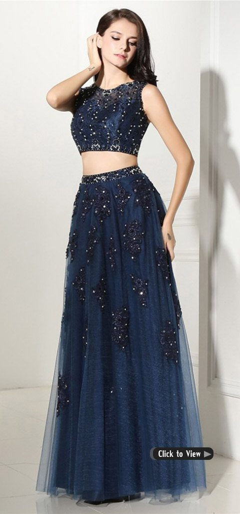 two piece long prom dress