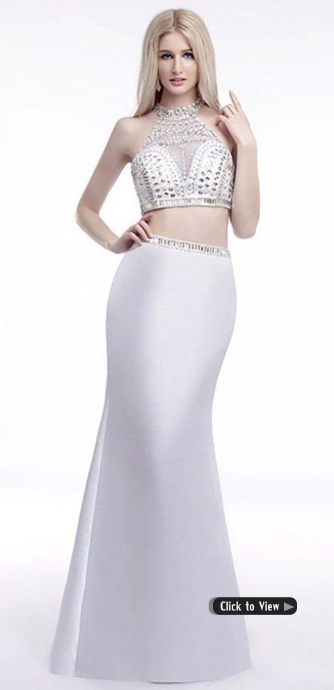 white two piece long dress