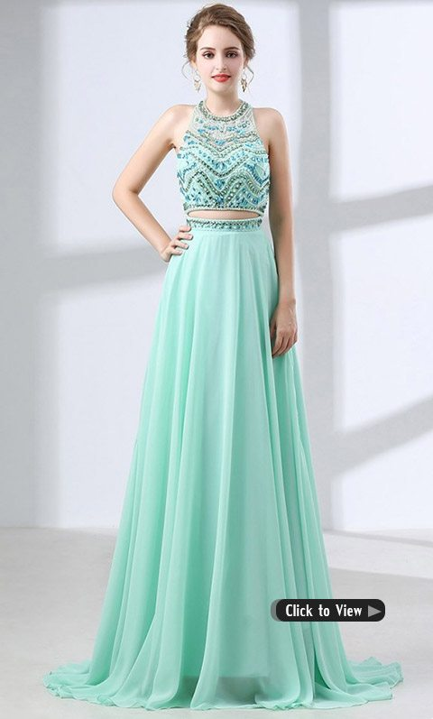 teal two piece long dress