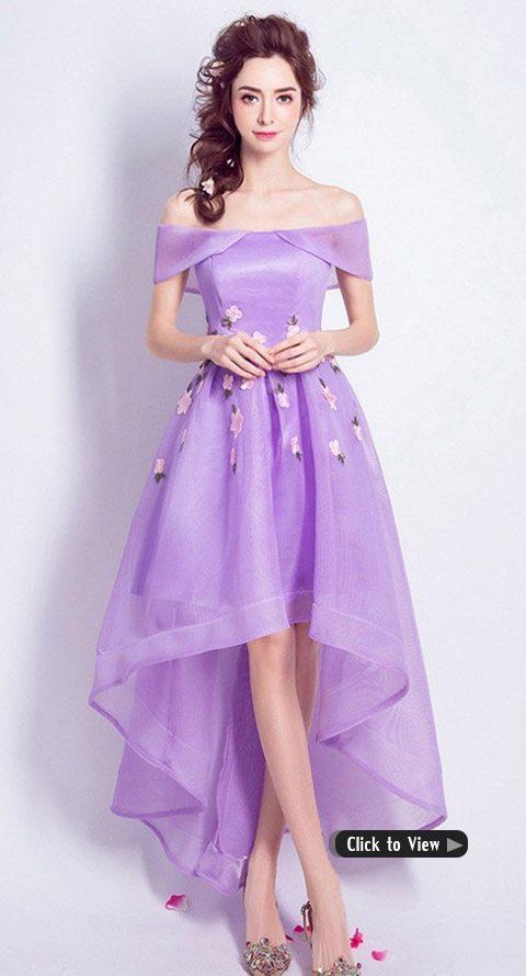 purple high low dress