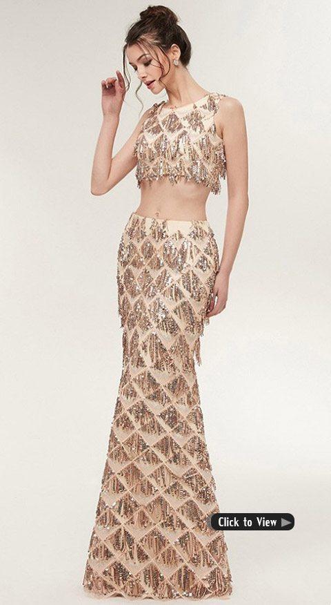 mermaid two piece long dress