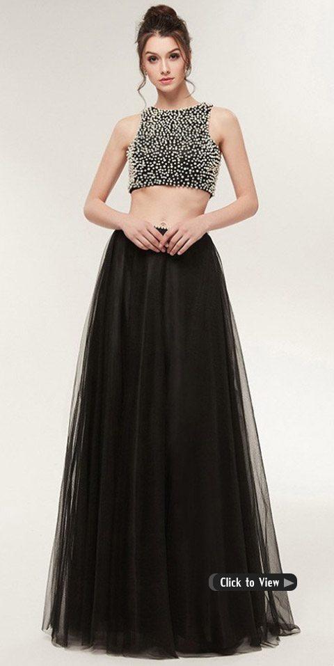 black two piece long dress
