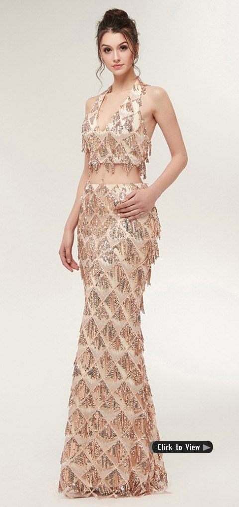 special two piece long dress