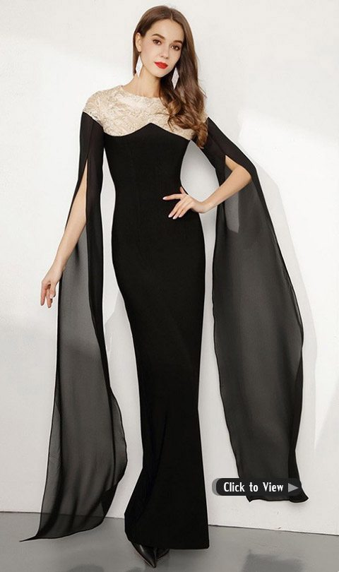 long black formal dress with cape