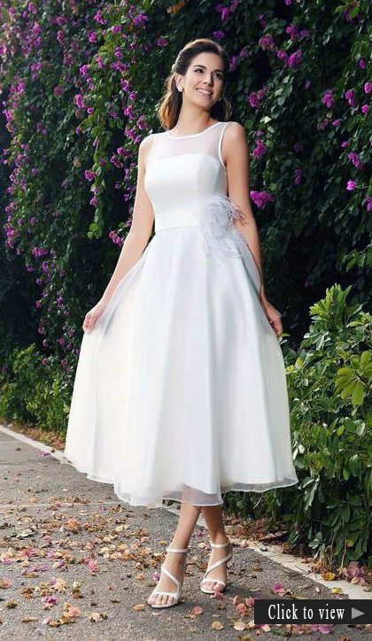 short chiffon wedding dress