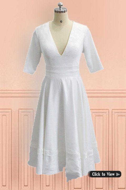 Wedding dresses for older brides over 40 50 60 70 for Tea length wedding dresses for older women