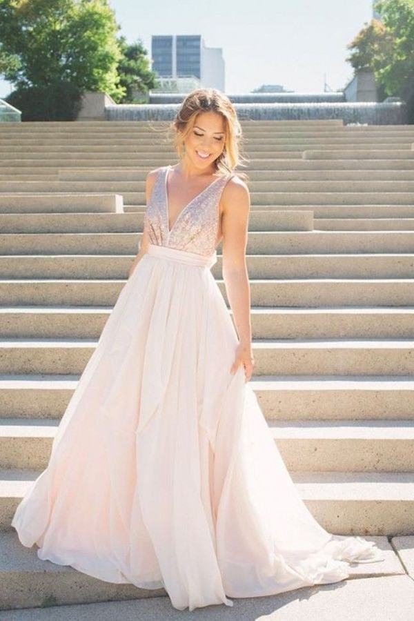 watercolor wedding dress blush pink