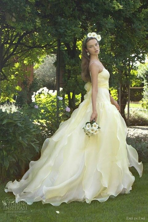 watercolor wedding dress yellow