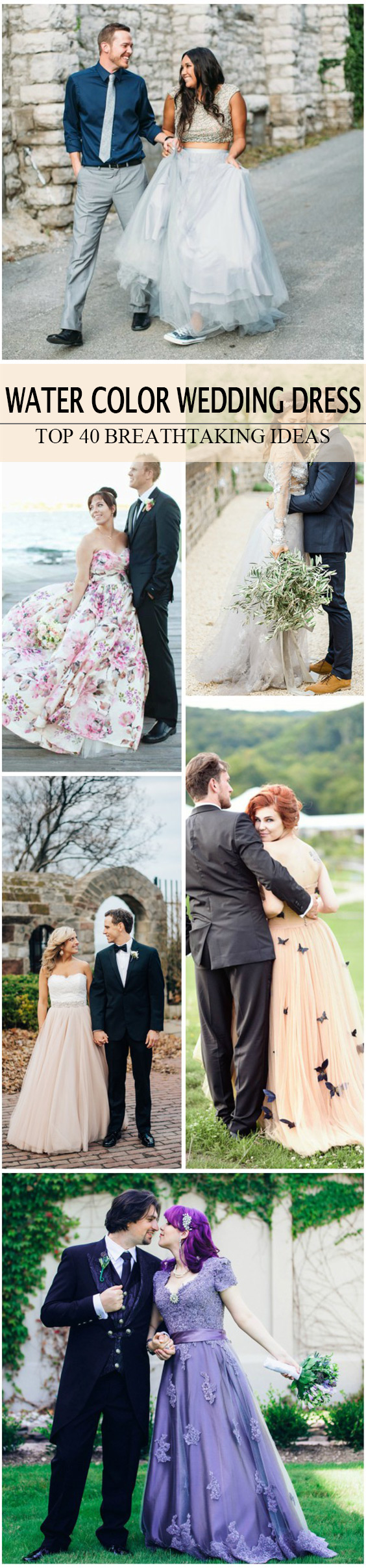 WATER COLOR WEDDING DRESS FOR SUMMER