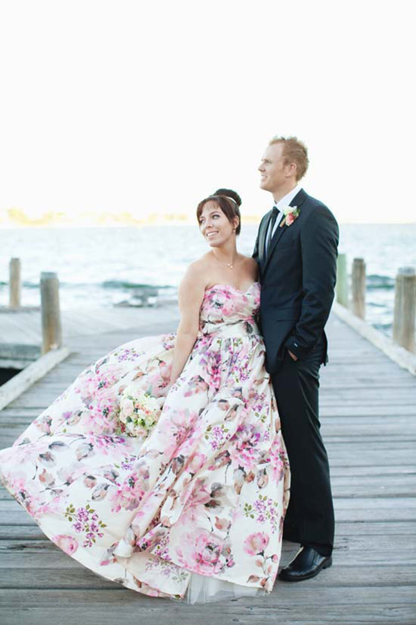 watercolor wedding dress floral print