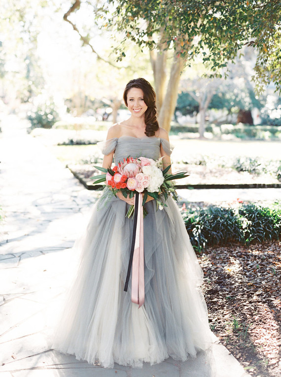 watercolor wedding dress dove grey