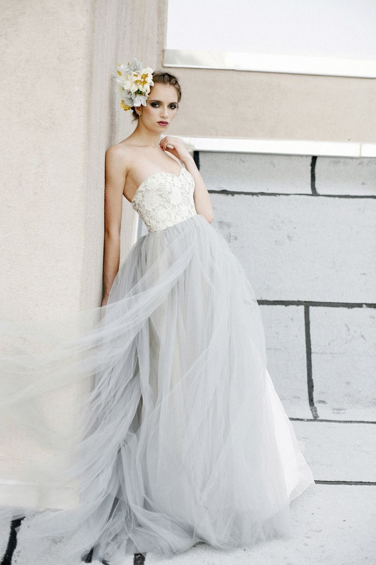 Unique wedding dress alternative wedding dress alternate wedding - Watercolor Wedding Dress Dove Grey