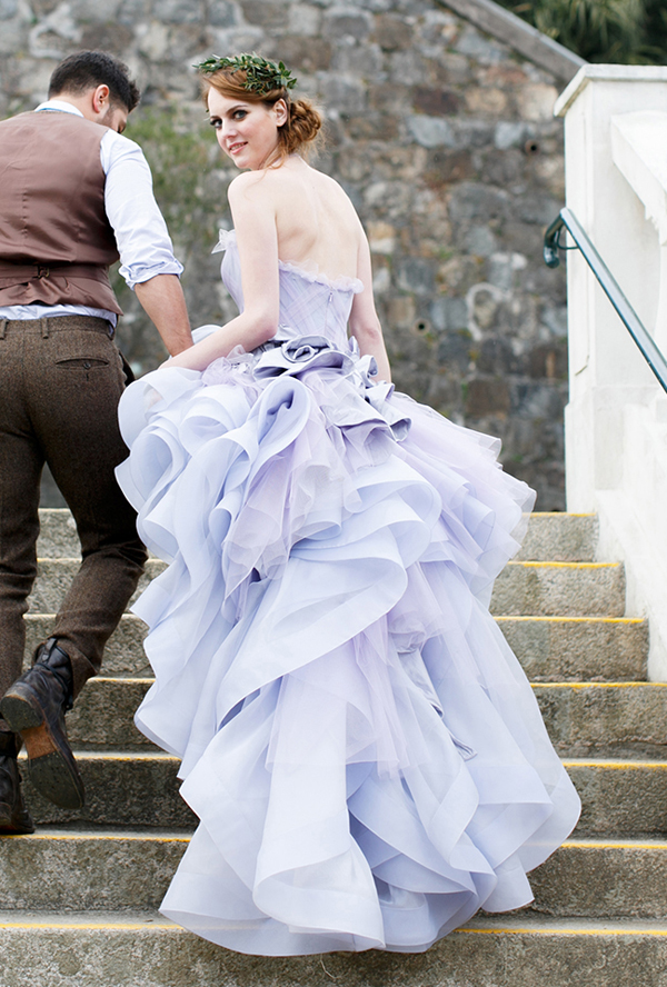 watercolor wedding dress lavender