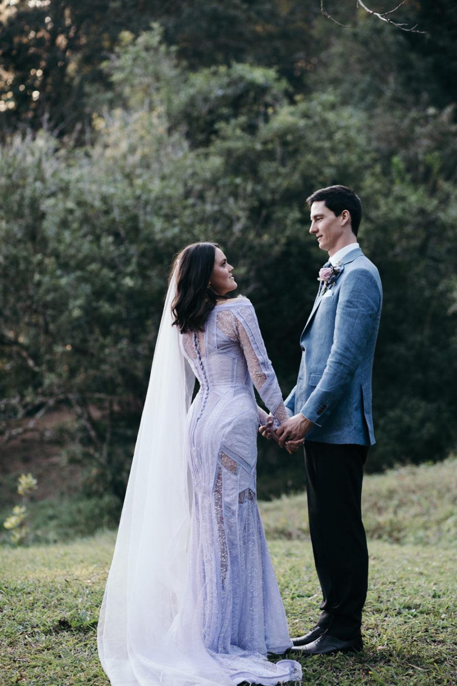 watercolor wedding dress lavender