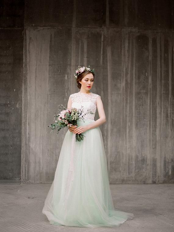 watercolor wedding dress mint green