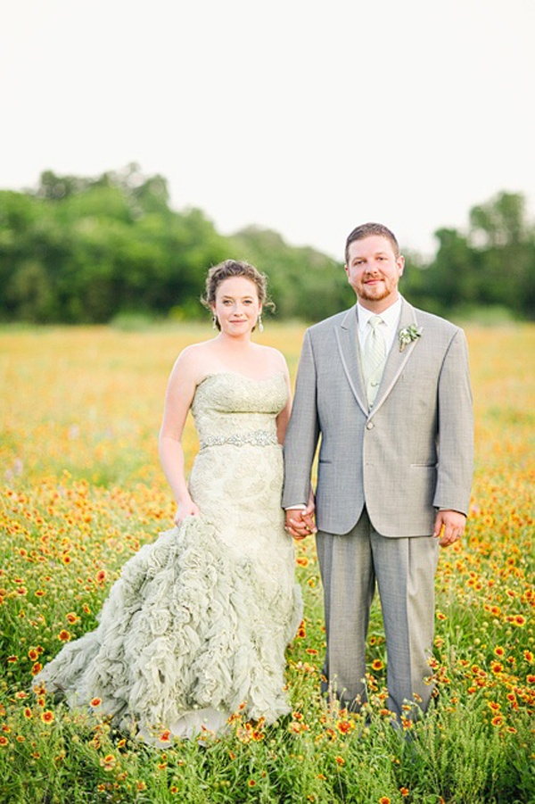 watercolor wedding dress mint green