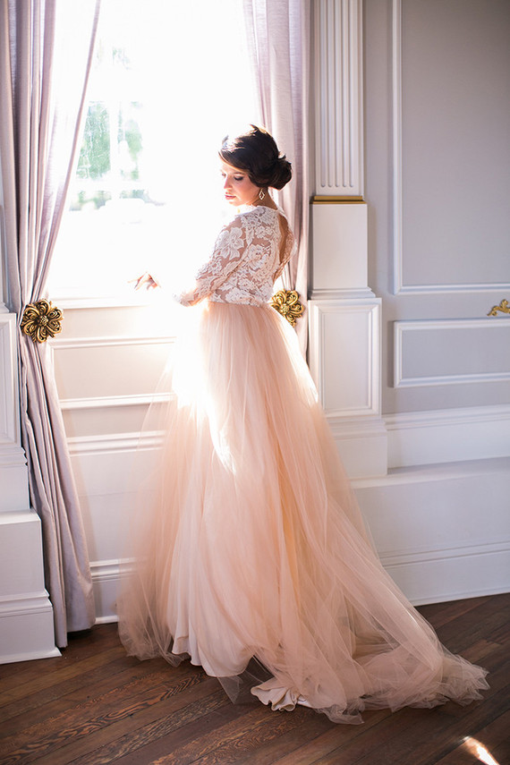 watercolor wedding dress peach