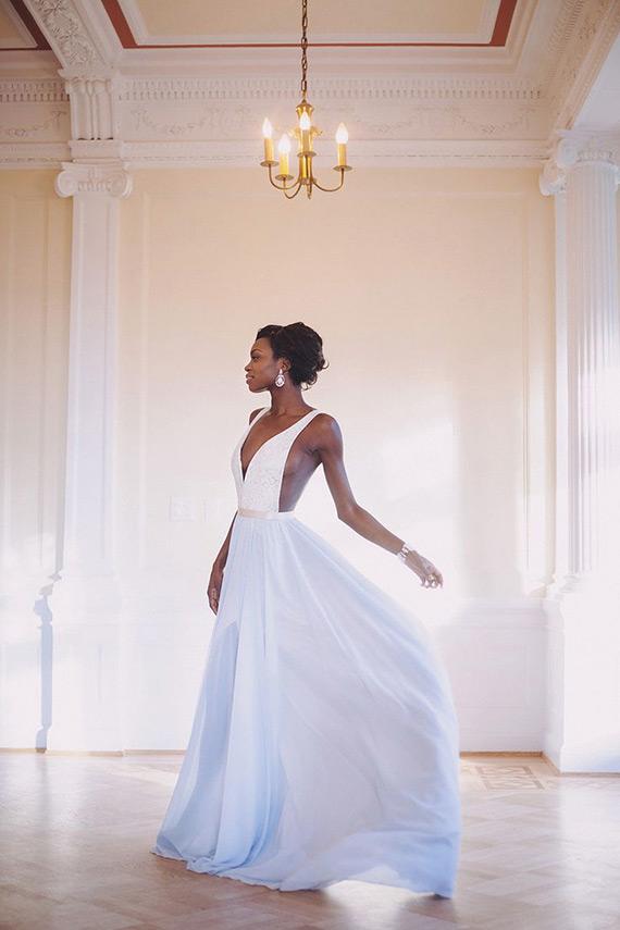 watercolor wedding dress blue