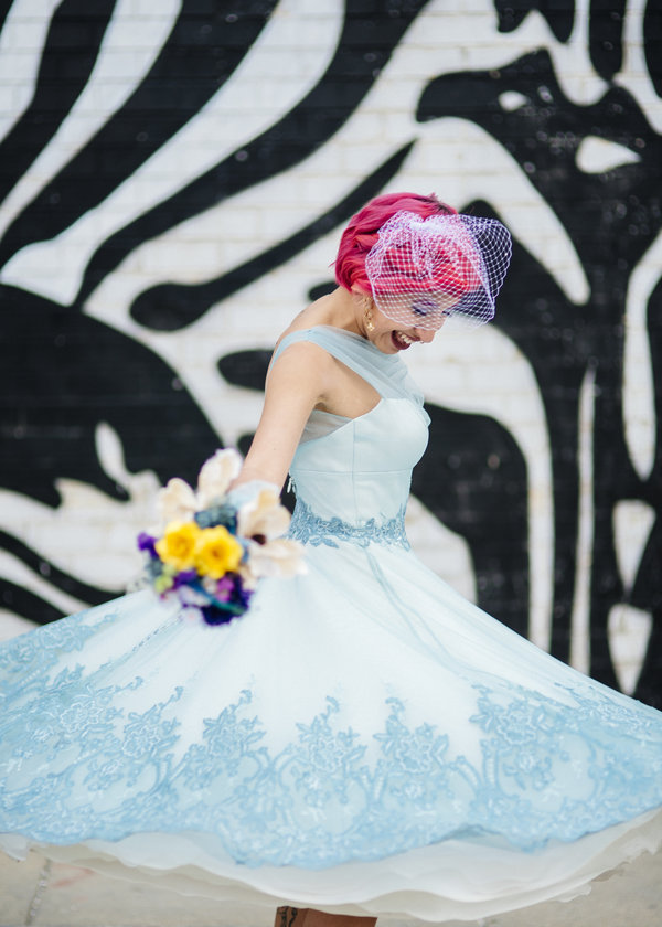 watercolor wedding dress blue