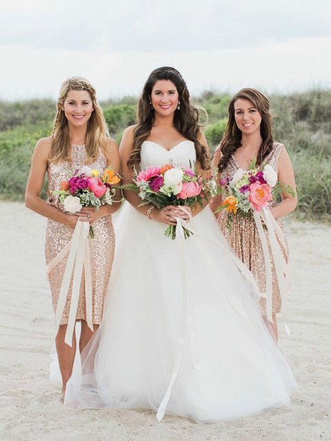 Short Gold Bridesmaid Dress