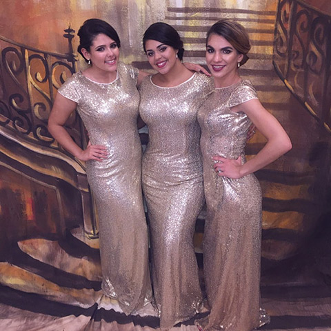 Plus Size Gold Bridesmaid Dress